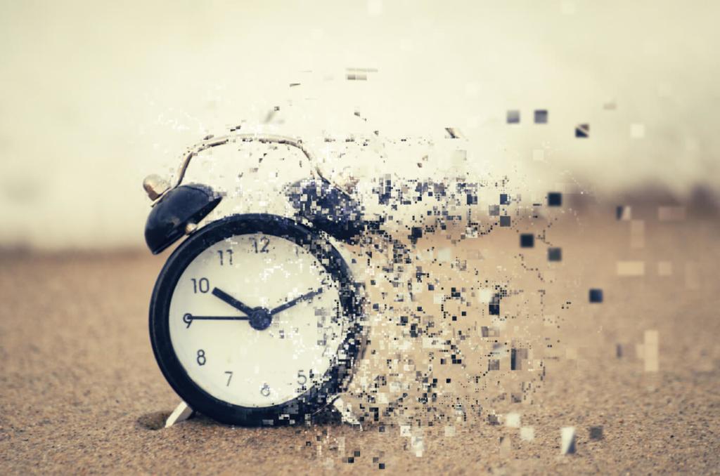 Eine Uhr löst sich ohne Zeitmanagement auf