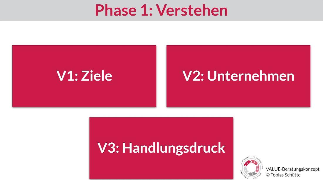Darstellung von drei Bausteinen der Phase 1 vom VALUE-Beratungskonzept